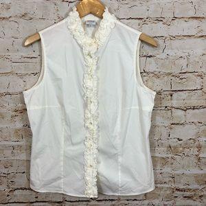 Armani Collezioni ruffled tank top button blouse